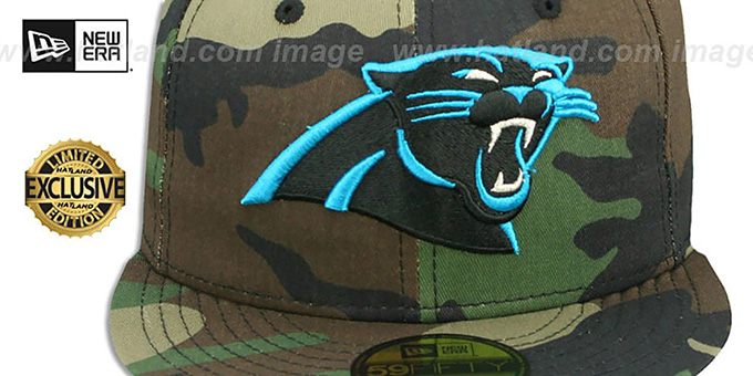 Panthers 'NFL TEAM-BASIC' Army Camo Fitted Hat by New Era
