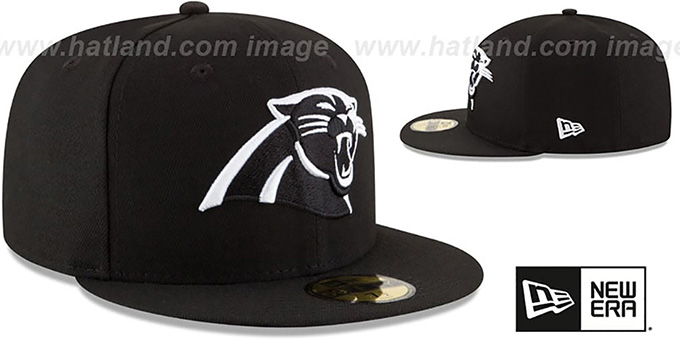 Panthers 'NFL TEAM-BASIC' Black-White Fitted Hat by New Era