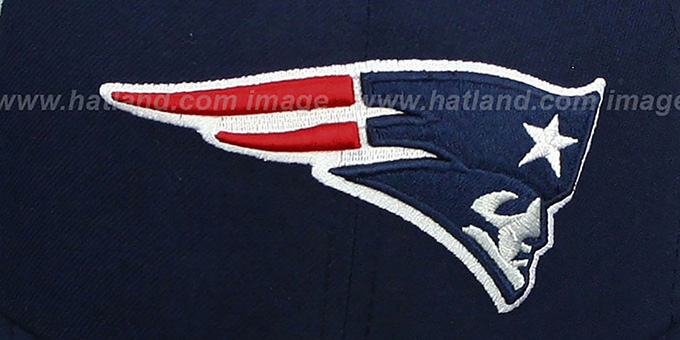 608d4e36 New England Patriots NFL JERSEY-STRIPE Navy Fitted Hat by New Era