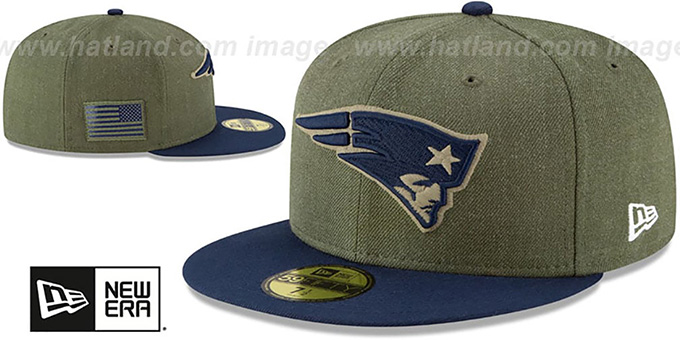 Patriots '2018 SALUTE-TO-SERVICE' Olive-Navy Fitted Hat by New Era