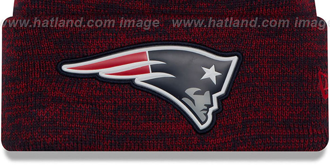 Patriots 'BEVEL' Navy-Red Knit Beanie Hat by New Era