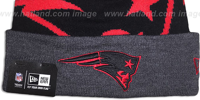 Patriots 'LOGO WHIZ' Black-Charcoal Knit Beanie Hat by New Era