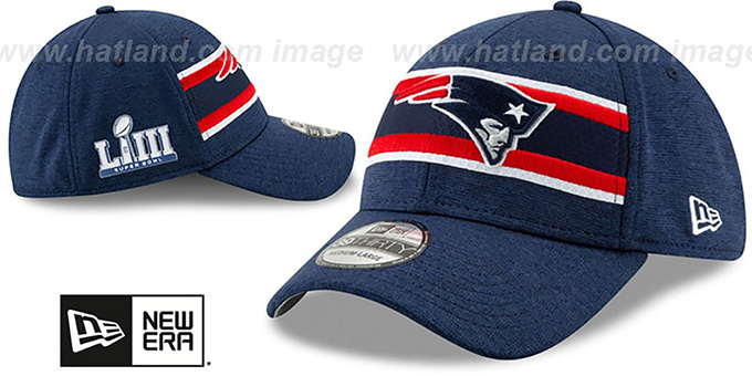 ... Patriots  NFL SUPER BOWL LIII ONFIELD FLEX  Navy Hat by New Era ... a311df92e8ba