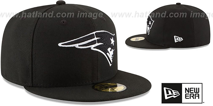 Patriots 'NFL TEAM-BASIC' Black-White Fitted Hat by New Era