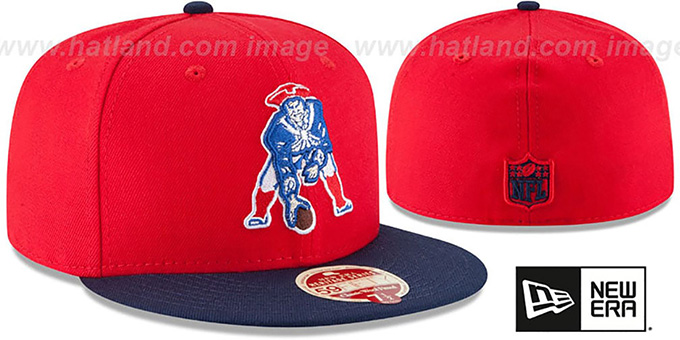 Patriots 'NFL THROWBACK WOOL-STANDARD' Red-Navy Fitted Hat by New Era