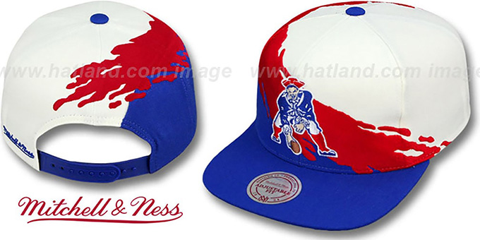 Patriots 'PAINTBRUSH SNAPBACK' White-Red-Royal Hat by Mitchell & Ness