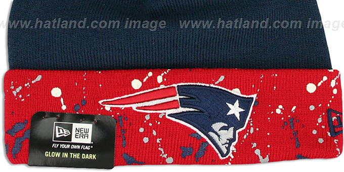 Patriots 'SPLATTER SPECK' Navy-Red Knit Beanie Hat by New Era