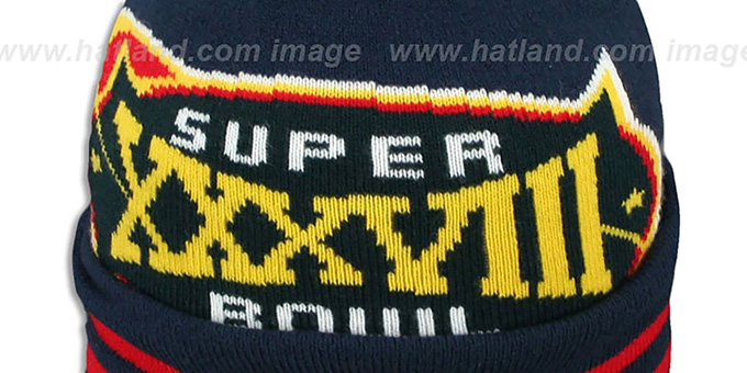 Patriots 'SUPER BOWL XXXVIII' Navy Knit Beanie Hat by New Era