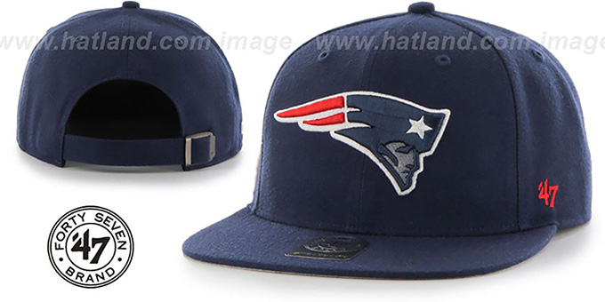 Patriots 'SUPER-SHOT STRAPBACK' Navy Hat by Twins 47 Brand