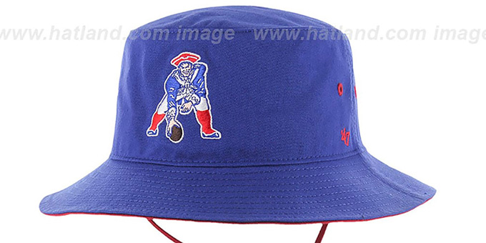 Patriots 'THROWBACK KIRBY BUCKET' Royal Hat by Twins 47 Brand