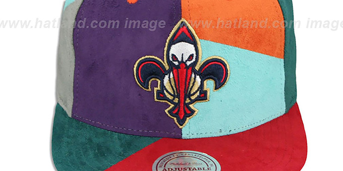 Pelicans 'CUT-N-SEW PATCHES SNAPBACK' Multi Hat by Mitchell and Ness