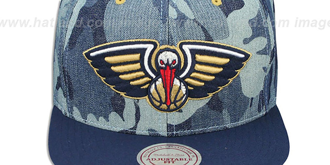 Pelicans 'DENIM-CAMO SNAPBACK' Blue Hat by Mitchell and Ness