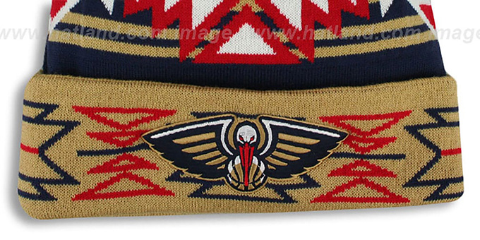 Pelicans 'GEOTECH' Knit Beanie by Mitchell and Ness