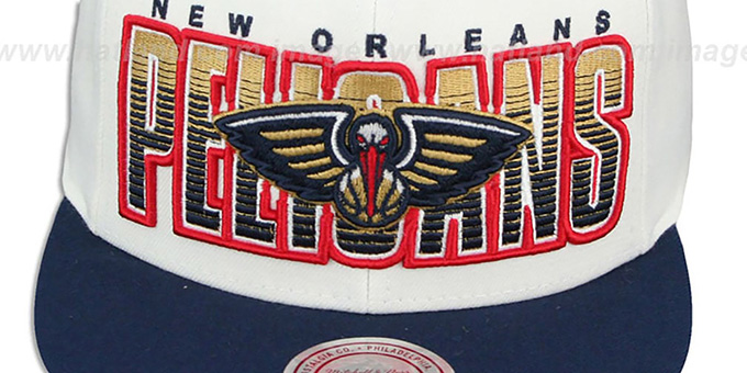 Pelicans 'HOMESTAND SNAPBACK' White-Navy Hat by Mitchell & Ness