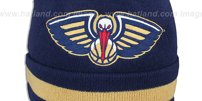 Pelicans 'XL-LOGO BEANIE' Navy by Mitchell and Ness