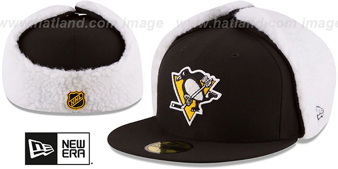 Penguins 'FLURRY-FIT DOGEAR' Black Fitted Hat by New Era