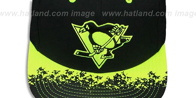 Penguins 'NEON-LAVA SNAPBACK' Black-Yellow Hat by Mitchell and Ness