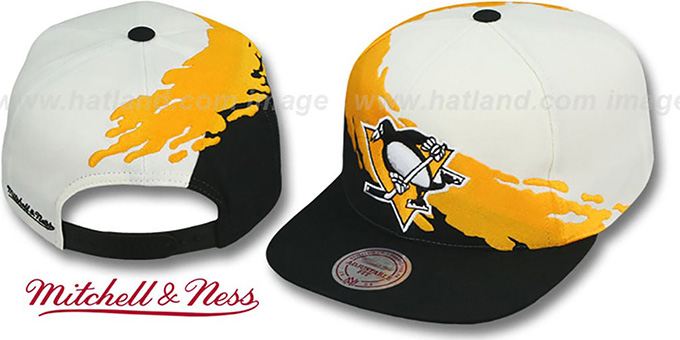 Penguins 'PAINTBRUSH SNAPBACK' White-Gold-Black Hat by Mitchell & Ness