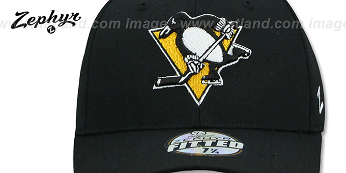 Penguins 'SHOOTOUT' Black Fitted Hat by Zephyr