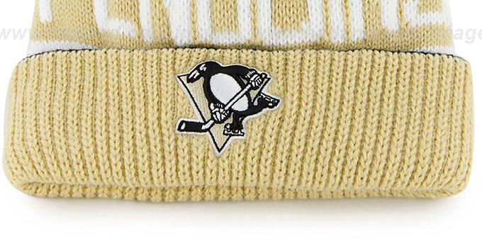 Penguins 'THE-CALGARY' Gold-Black Knit Beanie Hat by Twins 47 Brand
