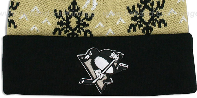 Penguins 'UGLY SWEATER' Black-Gold Knit Beanie Hat by Zephyr