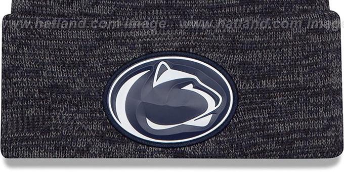 0dc1a6233c4 Penn State BEVEL Navy-Grey Knit Beanie Hat by New Era