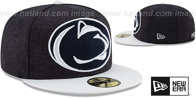 0c7a677f Penn State HEATHER-HUGE 2 Navy-White Fitted Hat by New Era