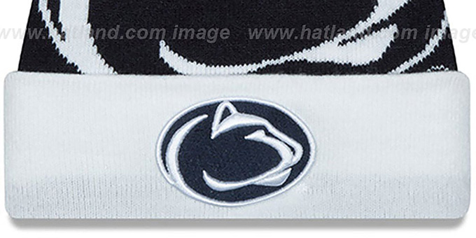 Penn State 'LOGO WHIZ' Navy-White Knit Beanie Hat by New Era