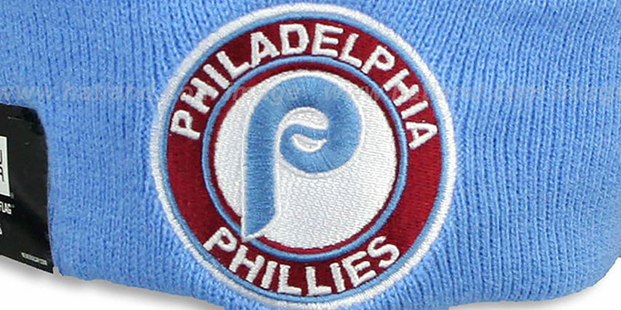 online retailer d1d62 39673 ... Phillies COOP  CIRCLE  Burgundy-Sky Knit Beanie Hat by New Era