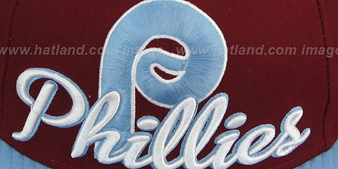 Phillies COOP 'SCRIPT-PUNCH' Burgundy-Sky Fitted Hat by New Era