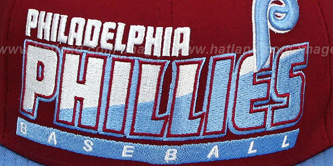 Phillies COOP 'SLICE-N-DICE SNAPBACK' Burgundy-Sky Hat by New Era