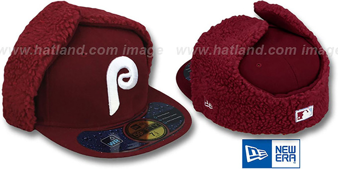 Phillies COOP 'WATER REPELLENT DOGEAR' Burgundy Fitted Hat by New Era