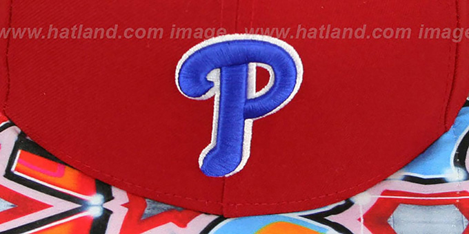 Phillies 'REAL GRAFFITI VIZA-PRINT' Red Fitted Hat by New Era
