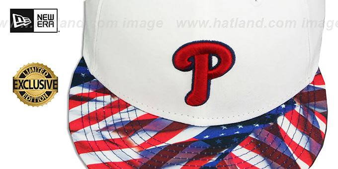 Phillies 'USA WAVING FLAG SNAPBACK' White-Flag Hat by New Era