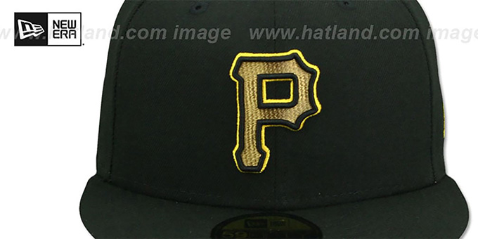 Pirates 'GOLD METALLIC STOPPER' Black Fitted Hat by New Era