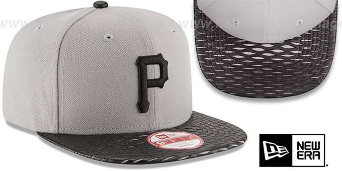 Pirates 'LEATHER-RIP SNAPBACK' Grey-Black Hat by New Era