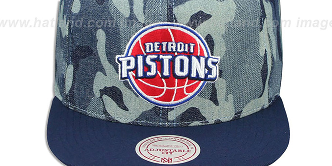 Pistons 'DENIM-CAMO SNAPBACK' Blue Hat by Mitchell and Ness