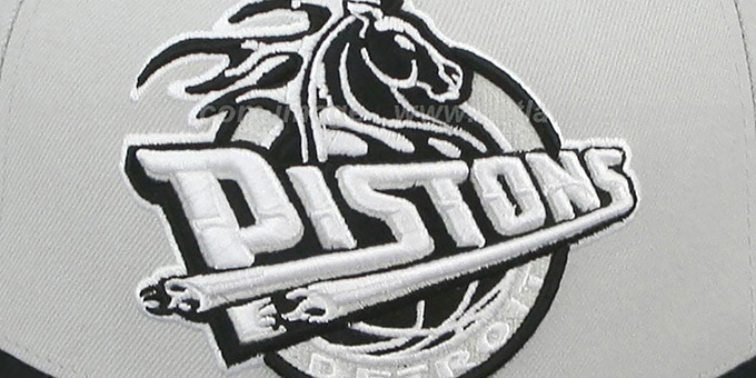 Pistons 'MONOCHROME XL-LOGO' Grey-Black Fitted Hat by Mitchell & Ness
