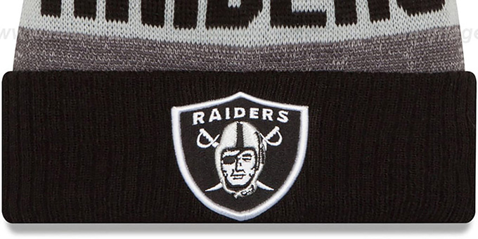 Raiders '2016 STADIUM' Black-Grey-Grey Knit Beanie Hat by New Era