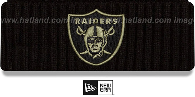 Raiders '2020 SALUTE-TO-SERVICE' Black Knit Beanie Hat by New Era