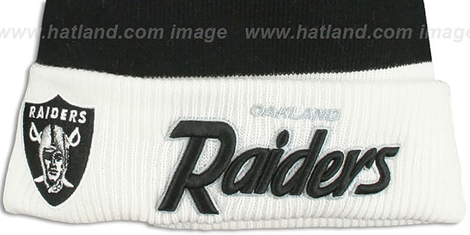 Raiders 'CUFF-SCRIPTER' White-Black-Grey Knit Beanie Hat by New Era