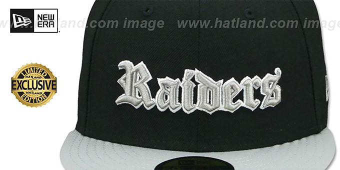 Raiders 'GOTHIC TEAM-BASIC' Black-Grey Fitted Hat by New Era