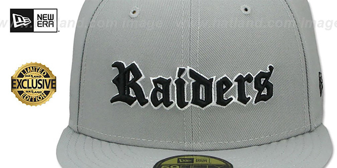 Raiders 'GOTHIC TEAM-BASIC' Light Grey Fitted Hat by New Era