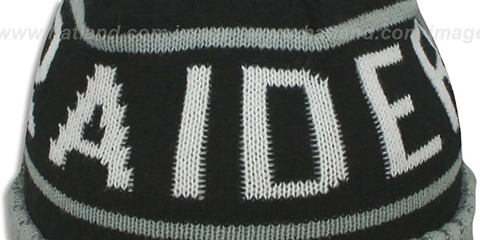 Raiders 'HIGH-5 CIRCLE BEANIE' Black-Grey by Mitchell and Ness