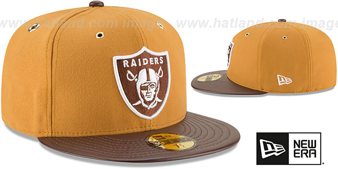 Raiders 'METAL HOOK' Wheat-Brown Fitted Hat by New Era