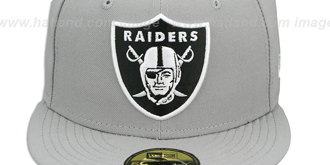 6097db49fa8 ... Raiders  NFL TEAM-BASIC  Grey-Black-White Fitted Hat by New ...