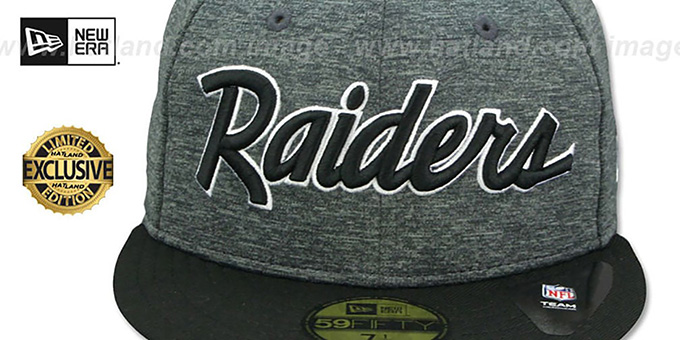 Raiders 'NFL TEAM-SCRIPT' Shadow Tech-Black Fitted Hat by New Era