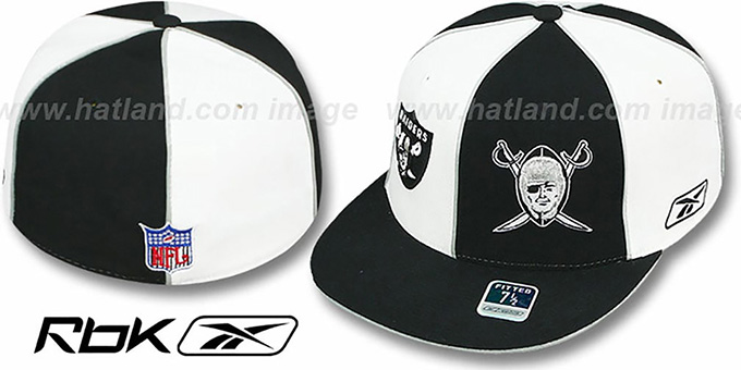 Raiders 'NOW & THEN DOUBLE LOGO' White-Black Fitted Hat