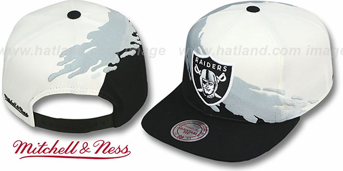 Raiders 'PAINTBRUSH SNAPBACK' White-Grey-Black Hat by Mitchell & Ness