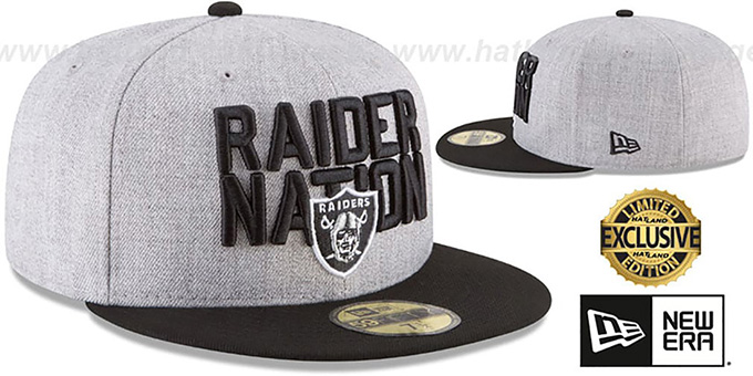 Raiders 'RAIDER-NATION' Grey-Black Fitted Hat by New Era
